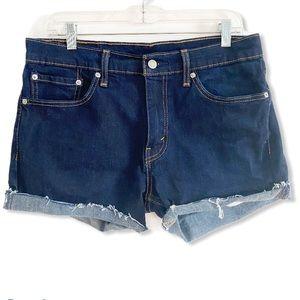 Levi's Shorts Cut Off Cuffed Raw Hen Blue Denim 33
